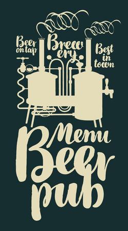 Menu de vecteur de modèle pour un pub de bière avec brasserie et inscriptions dans un style rétro Banque d'images - 76774466