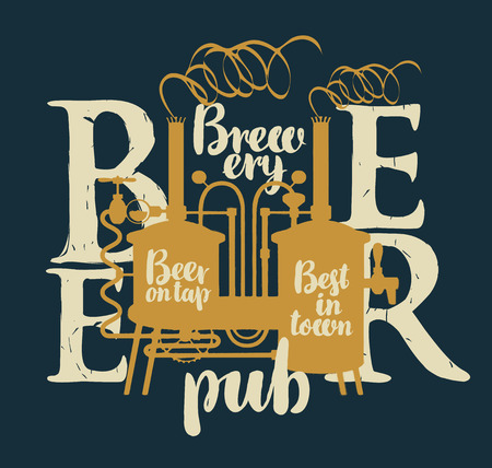 Template vector label for beer on tap with brewery and inscriptions on a shabby background in retro style Illustration