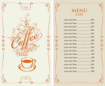 savor: template vector menu for cafe with price list and coffee cup with calligraphic inscription in form of steam in baroque style