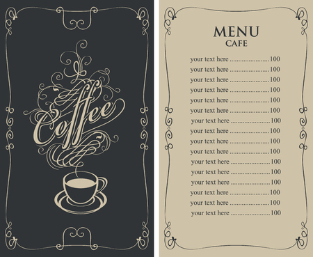 Template Vector Menu For Cafe With Price List And Coffee Cup ...