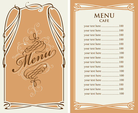 template vector menu for cafe with price list and curlicues with calligraphic inscription in baroque style Illustration