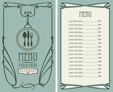 beverage: template vector menu for restaurant with price list, flatware and curlicues in baroque style on green background