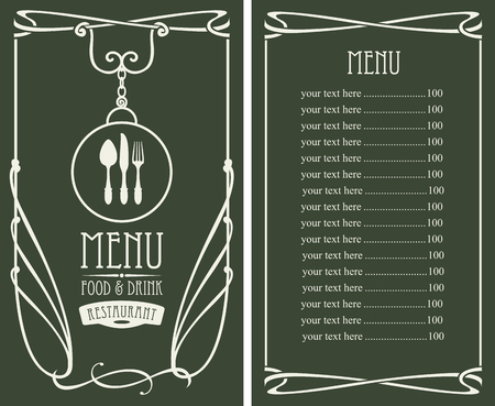 curlicues: template vector menu for restaurant with price list, flatware and curlicues in baroque style on dark background Illustration