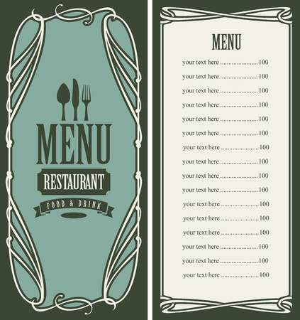 pattern: template vector menu for restaurant with price list, flatware and curlicues in baroque style on green background
