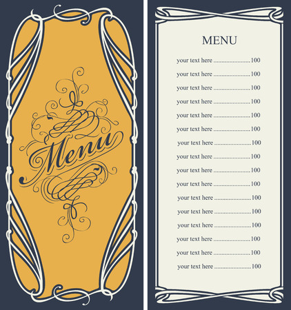 curlicues: template vector menu with price list and curlicues with calligraphic inscription in baroque style