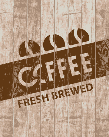 savor: Template vector banner with three coffee grains on wooden background with text fresh brewed coffee