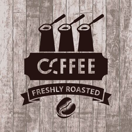 savor: template vector banner with three cezves, ribbon and coffee grain on wooden background with text freshly roasted coffee Illustration