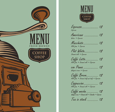 savor: template vector menu for a coffee shop with a picture coffee grinder and a price list in retro style