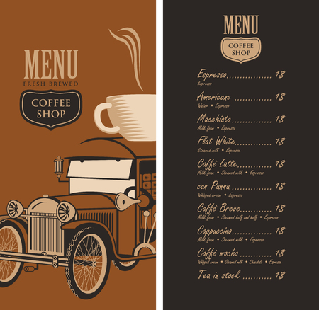 savor: template vector menu for a coffee shop with old car, cup of coffee on roof and a price list in retro style Illustration