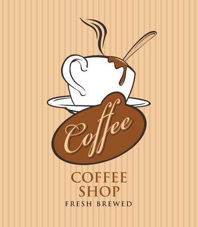template vector banner for coffee shop with cup of coffee and calligraphy inscription on striped background in retro style Illustration