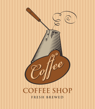 template vector banner for coffee shop with cezve and calligraphy inscription on striped background in retro style