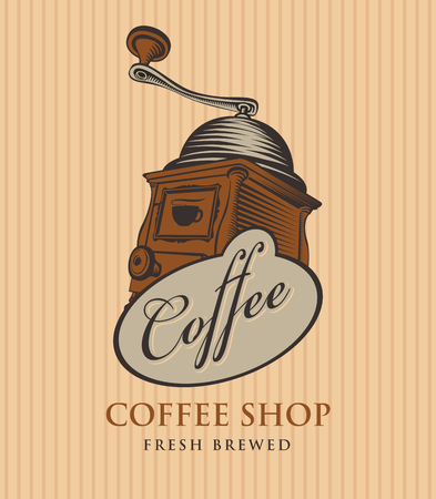 template vector banner for coffee shop with coffee grinder and calligraphy inscription on striped background in retro style Illustration