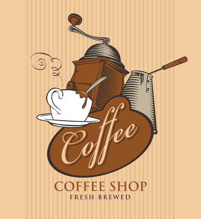 template vector banner for coffee shop with cup of coffee, grinder, cezve and calligraphy inscription on striped background in retro style