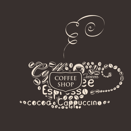 dark: template vector banner for coffee shop with cup of coffee of the words and grains