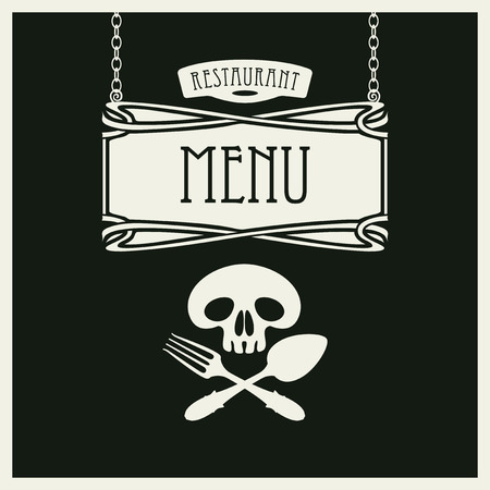 retro restaurant: template vector menu for restaurant with white human skull with a spoon and fork on black background in retro style