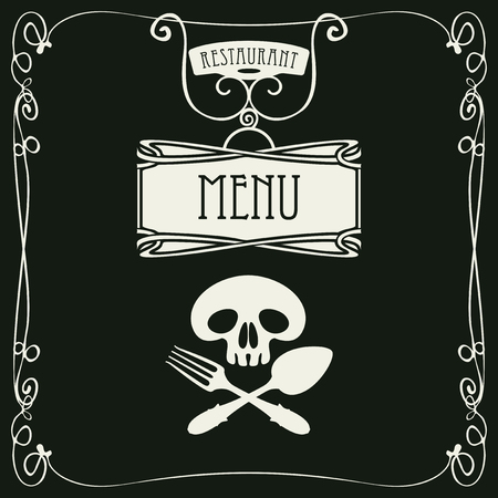 curlicues: template vector menu for restaurant with white human skull with a spoon and fork in curlicues frame on black background in retro style