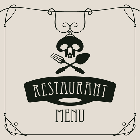 cover: template vector menu for restaurant with black human skull with a spoon and fork in curlicues frame on white background in retro style