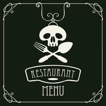 Menu for restaurant with white human skull with a spoon and fork in curly frame. Illustration