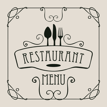 style template: vector template menu for restaurant with cutlery and curlicues in baroque style on a light background