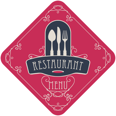 vector template menu for restaurant with Cutlery and curlicues in Baroque style on the red background in the shape of a rhombus Illustration