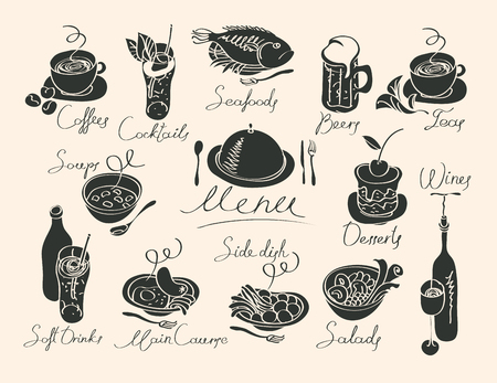 plate: vector menu with sketches different dishes and handwriting inscriptions