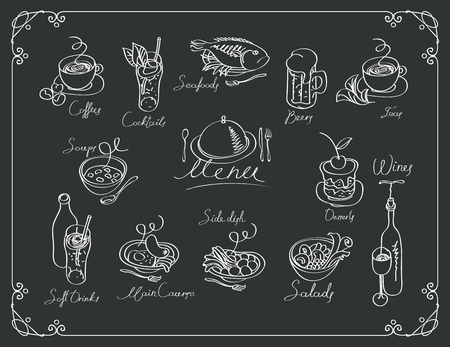 plate: vector menu with sketches different dishes and handwriting inscriptions on black background. Drawing chalk on a wooden board Illustration