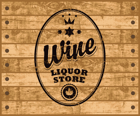 tore: vector label for wine with inscription, crown and maple leaf on wooden background