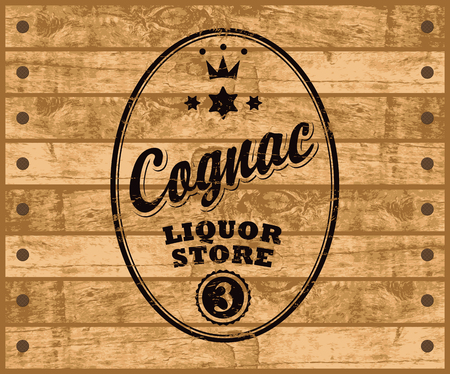 tore: vector label for cognac with inscription, crown and maple leaf on wooden background Illustration