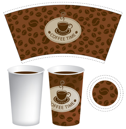 brown: vector template paper cup for hot drink with cup of coffee on the background of coffee beans Illustration