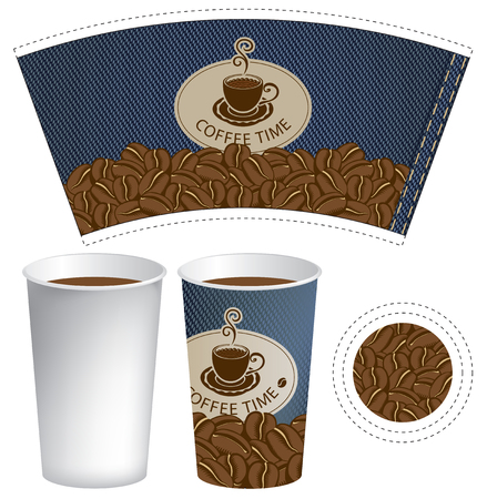 food: vector pattern paper cup for hot drink with cup of coffee on the background of coffee beans and the texture of denim Illustration