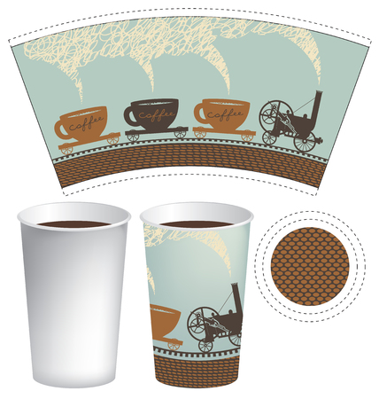 hot cup: vector template paper cup for hot drink with an old steam locomotive in retro style Illustration