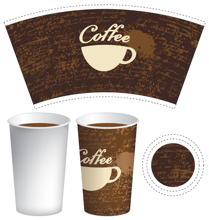 food: vector Template paper cup for hot drink with cup of coffee on the background of manuscript with splashes and spots