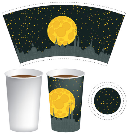 food: vector template paper cup for hot drink with the background of night old town with moon and starry sky Illustration