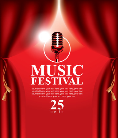 vector poster for a music festival with a red velvet curtain and microphone