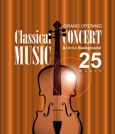 polyphony: vector poster for a concert of classical music with a velvet curtain and violin Illustration