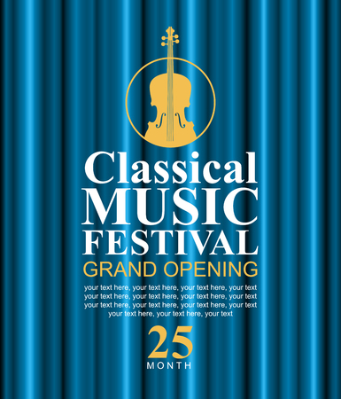 soloist: vector poster for a classical music festival with a blue velvet curtain and violin