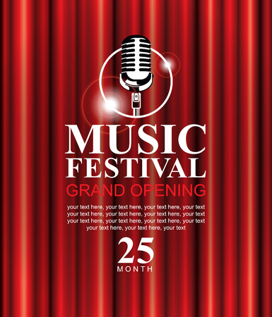 vector poster for a music festival with a red velvet curtain, microphone and the words Grand opening Illustration