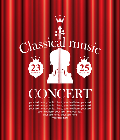 vector poster for a concert of classical music with a velvet curtain and violin Illustration