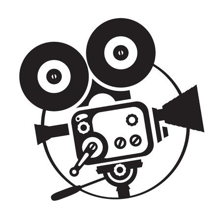 Vector black-white silhouette old fashioned movie camera