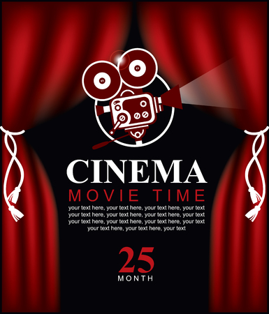 movie theater: Movie time poster with cinema red curtains and projector lights. Movie background with text place. Can used for banner, poster, web page, background