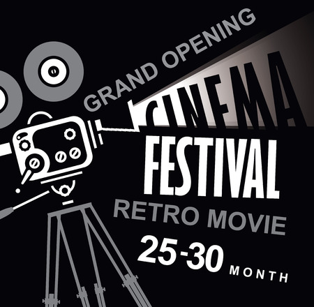 old fashioned: Vector cinema festival poster with old fashioned movie camera. Movie background with words retro movie grand opening. Can used for banner, poster, web page, background Illustration