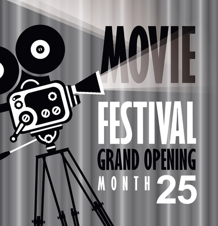 movie film: Movie festival poster with old fashioned movie camera. Cinema background with words grand opening. Can used for banner, poster, web page, background