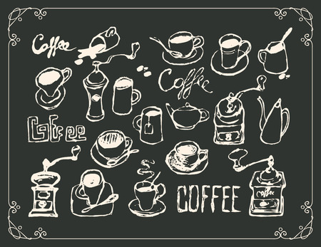 vector set of drawings on the theme of tea and coffee in a frame with curls and inscriptions