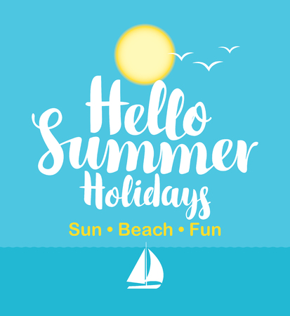 vector travel banner with the sea, sailboat, sun and gulls and the words hello summer holidays