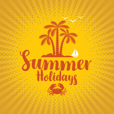 vector travel banner with island and palm trees on yellow background and the words summer holidays Illustration