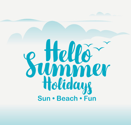 summer sky: vector travel banner with sky, clouds, birds, and the words hello summer holidays