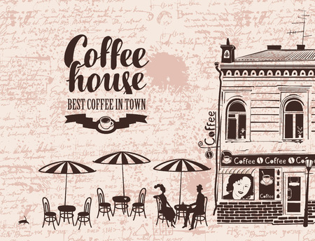 Urban landscape with street cafes and love couple on the background of manuscript with blots. Banner for coffee house with old building and inscription in retro style