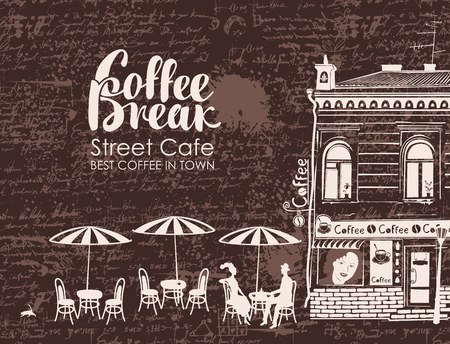 sidewalk talk: Urban landscape with street cafes and love couple on the background of manuscript with blots. Banner for street cafe with old building and inscription coffee break in retro style Illustration