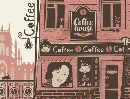 old building facade: vector city landscape with facade of the cafe with sign. Banner for coffee house in an old building with a womans face in the window in retro style Illustration