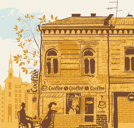 sidewalk talk: City landscape with a street cafe and a couple on the background of the old town. A coffee house in an old building with a womans face in the window and a cat on the roof in retro style Illustration